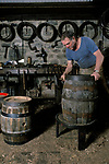 Cooper making wooden beer barrel. Clive Hollis the cooper at Theakstons  Brewery Masham North Yorkshire England UK 1990s 1991
