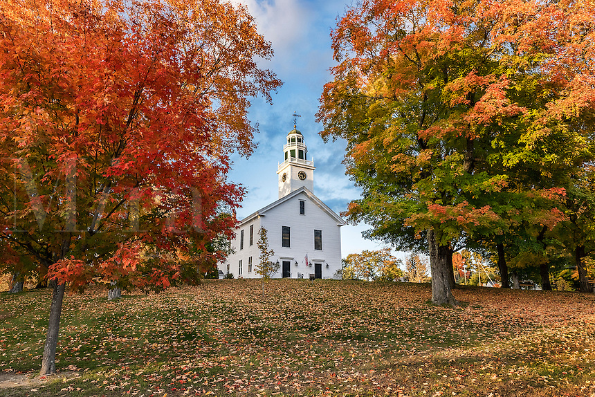 Village green and community church, Greenfield, New Hampshire, USA