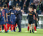 08.08.2019 FC Midtjylland v Rangers: Steven Gerrard separates Sory Kaba and Tom Culshaw at full time