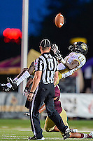 Arkansas Pine-Bluff's wide receiver Isiah Ferguson (14) is tackled by Texas State defender during second half of NCAA Football game, Saturday, August 30, 2014 in San Marcos, Tex. Texas State defeated Arkansas Pine-Bluff 65-0 to win the season opener. (Mo Khursheed/TFV Media via AP Images)