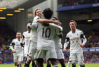 Pictured: Wilfried Bony of Swansea celebrating his equaliser. Saturday 22 March 2014<br /> Re: Barclay's Premier League, Everton v Swansea City FC at Goodison Park, Liverpool, UK.