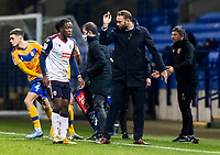 Bolton Wanderers' head coach Ian Evatt instructs Liam Gordon <br /> <br /> Photographer Andrew Kearns/CameraSport<br /> <br /> The EFL Sky Bet League Two - Bolton Wanderers v Mansfield Town - Tuesday 3rd November 2020 - University of Bolton Stadium - Bolton<br /> <br /> World Copyright © 2020 CameraSport. All rights reserved. 43 Linden Ave. Countesthorpe. Leicester. England. LE8 5PG - Tel: +44 (0) 116 277 4147 - admin@camerasport.com - www.camerasport.com