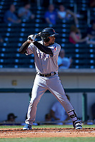 Surprise Saguaros second baseman Luis La O (9), of the Texas Rangers organization, at bat during a game against the Mesa Solar Sox on October 20, 2017 at Sloan Park in Mesa, Arizona. The Solar Sox walked-off the Saguaros 7-6.  (Zachary Lucy/Four Seam Images)