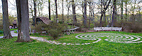 Labyrinth in Enchanted Woods panorama, Winterthur Garden