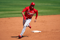 St. Louis Cardinals Dylan Carlson (3) running the bases during a Major League Spring Training game against the New York Mets on March 19, 2021 at Clover Park in St. Lucie, Florida.  (Mike Janes/Four Seam Images)