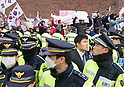 Supporters of ousted president Park Geun-Hye protest outside Park's home in Seoul