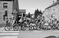 breakaway group making their way south towards Bastogne<br /> <br /> 104th Liège - Bastogne - Liège 2018 (1.UWT)<br /> 1 Day Race: Liège - Ans (258km)