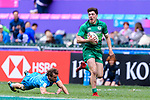 Jimmy O'Brien of Ireland (R) fights for the ball with Tomas Etcheverry of Uruguay (L) during the match between Ireland and Uruguay on April 7, 2018 in Hong Kong, Hong Kong. Photo by Marcio Rodrigo Machado / Power Sport Images