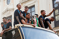 The Italian national team (Francesco Bernardeschi, Giovanni Di Lorenzo, Gianluigi Donnarimma, Lorenzo Insigne, Ciro Immobile and Leonardo Bonucci) carries the UEFA Euro 2020 cup around Rome on an open bus, welcomed by thousands of supporters. The bus left from piazza Colonna and has reached Piazza Venezia.<br /> Rome (Italy), July 12th 2021<br /> Photo Samantha Zucchi Insidefoto