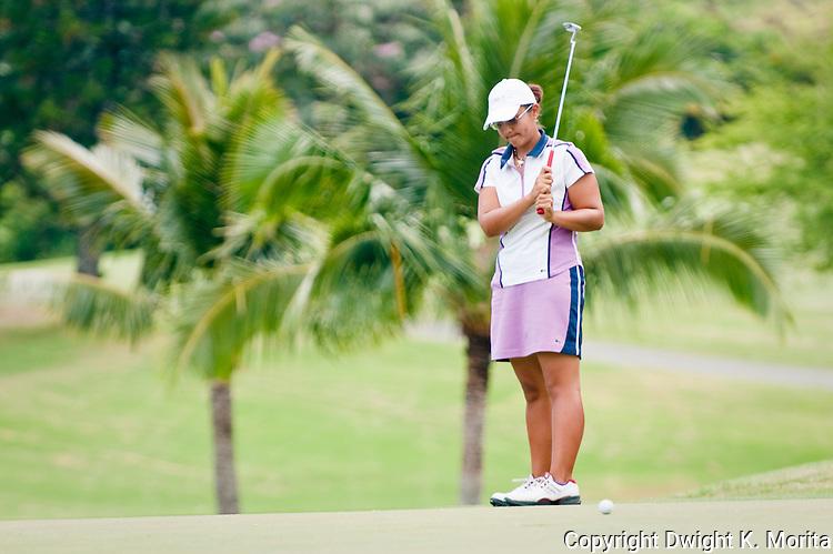 Kristina Merkle watches her putt on her way to winning the MPCC Jennie K Tournament