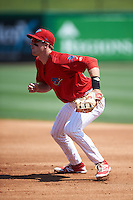 Clearwater Threshers first baseman Zach Green (12) during a game against the Charlotte Stone Crabs on April 13, 2016 at Bright House Field in Clearwater, Florida.  Charlotte defeated Clearwater 1-0.  (Mike Janes/Four Seam Images)