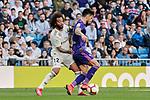 Real Madrid's Marcelo Vieira and Real Club Celta de Vigo's Brais Mendez during La Liga match between Real Madrid and Real Club Celta de Vigo at Santiago Bernabeu Stadium in Madrid, Spain. March 16, 2019. (ALTERPHOTOS/A. Perez Meca)