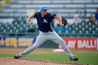 Charlotte Stone Crabs relief pitcher Alex Valverde (32) during a Florida State League game against the Bradenton Marauders on April 10, 2019 at LECOM Park in Bradenton, Florida.  Bradenton defeated Charlotte 2-1.  (Mike Janes/Four Seam Images)
