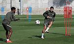 Atletico de Madrid's Thomas Lemar (l) and Angel Correa during training session. October 1, 2020. (ALTERPHOTOS/Atletico de Madrid/Pool)