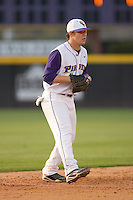 Shortstop Dustin Harrington #7 of the East Carolina Pirates on defense versus the Elon Phoenix at Clark-LeClair Stadium March 29, 2009 in Greenville, North Carolina. (Photo by Brian Westerholt / Four Seam Images)