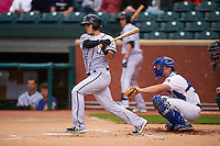 Jacksonville Suns third baseman Terrence Dayleg (16) at bat in front of catcher Stuart Turner during a game against the Chattanooga Lookouts on April 30, 2015 at AT&T Field in Chattanooga, Tennessee.  Jacksonville defeated Chattanooga 6-4.  (Mike Janes/Four Seam Images)