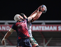 8th September 2020; Ashton Gate Stadium, Bristol, England; Premiership Rugby Union, Bristol Bears versus Northampton Saints; Alex Moon of Northampton Saints competes for the ball at the lineout with Dave Attwood of Bristol Bears