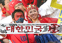 Red Devils fans from the Korea Republic. The Korea Republic and France played to a 1-1 tie in their FIFA World Cup Group G match at the Zentralstadion, Leipzig, Germany, June 18, 2006.