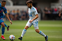 LOS ANGELES, CA - MAY 29: Diego Rossi #9 of LAFC moves with the ball during a game between New York City FC and Los Angeles FC at Banc of California Stadium on May 29, 2021 in Los Angeles, California.