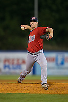Elizabethton Twins relief pitcher Josh Guyer (16) in action against the Kingsport Mets at Hunter Wright Stadium on July 8, 2015 in Kingsport, Tennessee.  The Mets defeated the Twins 8-2. (Brian Westerholt/Four Seam Images)