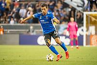 SAN JOSE, CA - SEPTEMBER 4: Oswaldo Alanis #4 of the San Jose Earthquakes dribbles the ball during a game between Colorado Rapids and San Jose Earthquakes at PayPal Park on September 4, 2021 in San Jose, California.