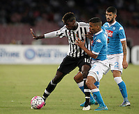 Calcio, Serie A: Napoli vs Juventus. Napoli, stadio San Paolo, 26 settembre 2015. <br /> Juventus' Paul Pogba, left, is challenged by Napoli's Marques Allan, center, and Elseid Hysaj during the Italian Serie A football match between Napoli and Juventus at Naple's San Paolo stadium, 26 September 2015.<br /> UPDATE IMAGES PRESS/Isabella Bonotto