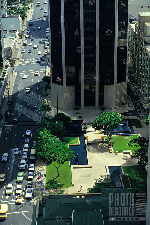Streets, buildings, and landscaping in downtown Honolulu