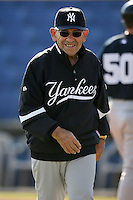 February 25, 2009:  Special instructor Yogi Berra of the New York Yankees during a Spring Training game at Dunedin Stadium in Dunedin, FL.  The New York Yankees defeated the Toronto Blue Jays 6-1.   Photo by:  Mike Janes/Four Seam Images