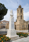 CYPRUS, capital Nicosia (Lefkosia): Agios Ioannis Cathedral (17th century) at Archibishop Kiprianós Square. Left statue of Archbishop Kiprianós<br />