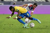 2nd July 2021; Nilton Santos Stadium, Rio de Janeiro, Brazil; Copa America, Brazil versus Chile; Fred of Brazil is fouled by Mauricio Isla of Chile