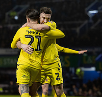 Fleetwood Town's Barrie McKay celebrates scoring his side's first goal with Lewis Coyle<br /> <br /> Photographer David Horton/CameraSport<br /> <br /> The EFL Sky Bet League One - Portsmouth v Fleetwood Town - Tuesday 10th March 2020 - Fratton Park - Portsmouth<br /> <br /> World Copyright © 2020 CameraSport. All rights reserved. 43 Linden Ave. Countesthorpe. Leicester. England. LE8 5PG - Tel: +44 (0) 116 277 4147 - admin@camerasport.com - www.camerasport.com