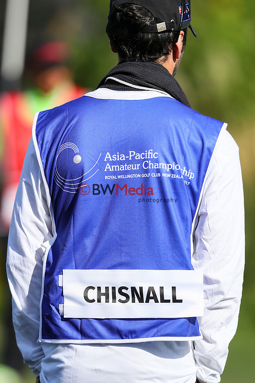 Ryan Chisnall's of New Zealand caddy during the Asia Pacific Amateur Golf Championship Round Two, Royal Wellington Golf Course, Wellington, New Zealand, 27 October2017.  Photo: Simon Watts/www.bwmedia.co.nz