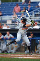 West Virginia Black Bears outfielder Ty Moore (55) at bat during a game against the Batavia Muckdogs on August 31, 2015 at Dwyer Stadium in Batavia, New York.  Batavia defeated West Virginia 5-4.  (Mike Janes/Four Seam Images)