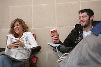 "State College, PA -- 10/25/2007 -- Penn State freshmen Maddy Hoover (left) and Sean Burdette, both from Spring Grove, sit outside of the gates of Beaver Stadium next to their rain soaked tent on Thursday morning.  As of Thursday morning, Burdette had been living in his tent for over 56 hours, and was the first in line.  Penn State students camp outside of Beaver Stadium in hopes to be near the front of the student section for the game against Ohio State this Saturday.  The gathering of tents outside of the student entrance to the stadium has been dubbed ""Paternoville"" and received a visit from its namesake, Joe Paterno, and his wife, Sue, this morning.  The Paterno's delivered pizza to the students and thanked them for their support of the football team...Photo:  Joe Rokita / JoeRokita.com"