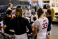 SANTA CRUZ, CA - JANUARY 22: Tara VanDerveer talks to the team in a time-out during the Stanford Cardinal women's basketball game vs the UCLA Bruins at Kaiser Arena on January 22, 2021 in Santa Cruz, California.