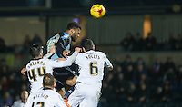 Aaron Holloway of Wycombe Wanderers heads his goal to make it 2-2 during the Sky Bet League 2 match between Wycombe Wanderers and Notts County at Adams Park, High Wycombe, England on 15 December 2015. Photo by Andy Rowland.