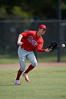 Philadelphia Phillies left fielder Mickey Moniak (15) makes a play during an Instructional League game against the Toronto Blue Jays on September 30, 2017 at the Carpenter Complex in Clearwater, Florida.  (Mike Janes/Four Seam Images)
