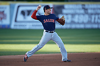 Salem Red Sox shortstop Chad De La Guerra (18) throws to first base during the first game of a doubleheader against the Potomac Nationals on May 13, 2017 at G. Richard Pfitzner Stadium in Woodbridge, Virginia.  Potomac defeated Salem 6-0.  (Mike Janes/Four Seam Images)