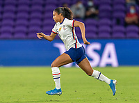 ORLANDO, FL - JANUARY 22: Margaret Purce #23 of the USWNT sprints during a game between Colombia and USWNT at Exploria stadium on January 22, 2021 in Orlando, Florida.