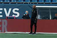FOXBOROUGH, MA - SEPTEMBER 23: Montreal Impact coach Thierry Henry watches the play during a game between Montreal Impact and New England Revolution at Gillette Stadium on September 23, 2020 in Foxborough, Massachusetts.