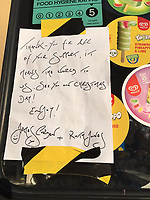 Pictured: The hand-written note by James Corden and Ruth Jones on the side of an ice cream van.<br /> Re: James Corden and Ruth Jones of hit BBC series Gavin and Stacey surprised fans by paying for an ice cream van to give out free ice cream in Barry, south Wales, UK.