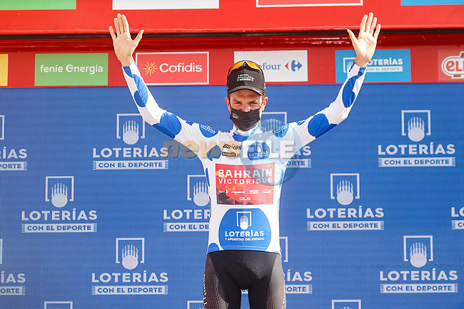 Damiano Caruso (ITA) Bahrain Victorious retains the mountains Polka Dot Jersey at the end of Stage 11 of La Vuelta d'Espana 2021, running 133.6km from Antequera to Valdepeñas de Jaén, Spain. 25th August 2021.     <br /> Picture: Luis Angel Gomez/Photogomezsport | Cyclefile<br /> <br /> All photos usage must carry mandatory copyright credit (© Cyclefile | Luis Angel Gomez/Photogomezsport)