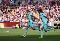 11th September 2021; Brentford Community Stadium, London, England;  Premier League football, Brentford versus Brighton Athletic; Leandro Trossard of Brighton celebrates scoring in 88th minute 0-1