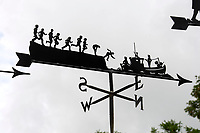 BNPS.co.uk (01202 558833)<br /> Pic: ZacharyCulpin/BNPS<br /> <br /> Pictured: Graham's design of a family trying to catch a boat<br /> <br /> Something in the wind..<br /> <br /> While Covid caused much of the world to slow down, business has been booming for weathervane maker Graham Smith.<br /> <br /> The former precision engineer has been so busy he has been working seven days a week and has had to close his books to new orders.<br /> <br /> Graham hand-crafts all his weathervanes, creating intricate designs and can even recreate families or significant events.<br /> <br /> With people stuck at home in lockdown and looking at DIY and home improvements, he said he has had his busiest year.