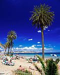 Spanien, Balearen, Ibiza (Eivissa): Ibiza-Stadt: Strand Platja d'en Bossa | Spain, Balearic Islands, Ibiza (Eivissa): Ibiza-Town: Beach  Platja d'en Bossa
