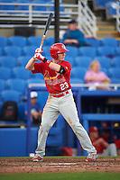 Palm Beach Cardinals center fielder Blake Drake (23) at bat during a game against the Dunedin Blue Jays on April 15, 2016 at Florida Auto Exchange Stadium in Dunedin, Florida.  Dunedin defeated Palm Beach 8-7.  (Mike Janes/Four Seam Images)