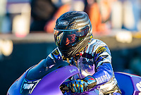 Sep 4, 2020; Clermont, Indiana, United States; NHRA pro stock motorcycle rider Scotty Pollacheck during qualifying for the US Nationals at Lucas Oil Raceway. Mandatory Credit: Mark J. Rebilas-USA TODAY Sports