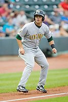 Devin Mesoraco #36 of the Lynchburg Hillcats takes his lead off of third base against the Winston-Salem Dash at  BB&T Ballpark May 22, 2010, in Winston-Salem, North Carolina.  Photo by Brian Westerholt / Four Seam Images