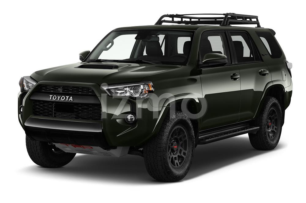 2020 Toyota 4Runner TRD-Pro 5 Door SUV Angular Front automotive stock photos of front three quarter view