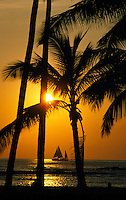 Golden sunset sail off Waikiki